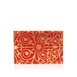 red and gold card holder with a design inspired by the Gilebertus doors at St. George's Chapel, Windsor Castle
