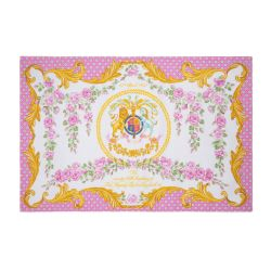 At the centre of this 100% cotton tea towel is the lion and unicorn coat of arms which is surrounded by pink roses, inspired by the pink roses in bloom at the time of The Queen's official birthday, on the East Terrace Garden, Windsor Castle.