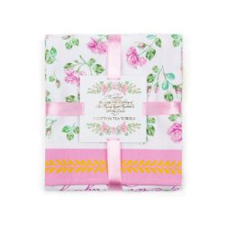 Folded rose tea towels wrapped in a pink ribbon