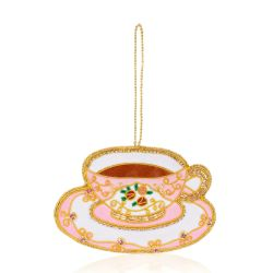 Pink and white teacup decoration embroidered with pink jewels and gold threads.