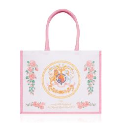 Cream and pink jute bag displaying the lion and unicorn crest and pink roses surrounding the crest