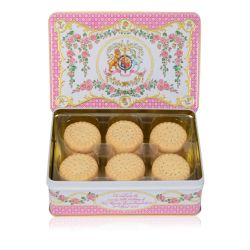 An open tin of shortbread biscuit rounds. The tin lid has a design of pink roses and the lion and unicorn crest at the centre of the design.