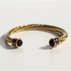 18ct gold plated twisted bracelet with black coloured glass on the end