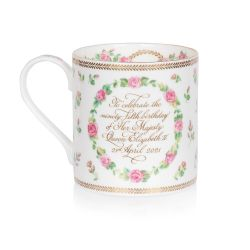 The design of this commemorative coffee mug is wonderfully inspired by the pink roses in bloom at the time of The Queen's official birthday, on the East Terrace Garden, Windsor Castle. At the centre of the coffee mug is a specially painted coat of arms wh