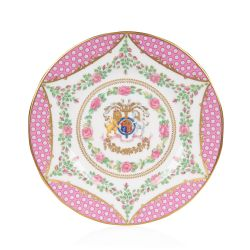 The design of this commemorative side plate is wonderfully inspired by the pink roses in bloom at the time of The Queen's official birthday, on the East Terrace Garden, Windsor Castle. At the centre of the side plate is a specially painted coat of arms wh