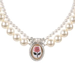 Two rows of pearls with a pink rose pendant surrounded by crystals