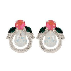 pink, green and clear crystal earrings formed in a floral shape.