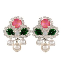 Pink, Green and clear crystal earrings forming a flower with a pearl drop