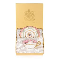 The design of this limited edition teacup and saucer is wonderfully inspired by the pink roses in bloom at the time of The Queen's official birthday, on the East Terrace Garden, Windsor Castle. The saucer is stood behind the teacup and displays the specia