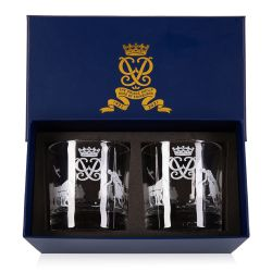 This magnificent pair of traditional glass whisky tumblers are skilfully engraved with the pursuits and passions of The Duke of Edinburgh, including cricket and carriage driving. The central element of each glass is The Duke of Edinburgh's personal Cypher