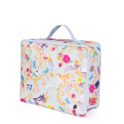 Blue sandwich bag patterned with florals and other emblems of a royal summertime including corgis, florals, strawberries, carriages and guardsman. There is a handle at the top and a blue zip runs around three edges.