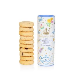 A pale blue cardboard tube of biscuits decorated with gold stars, colourful flowers, cakes, a floral teapot and butterflies. At the centre of the tube is a gold crown and 'Buckingham Palace' in gold. Underneath are the words 'Mini Chocolate Chip Shortbrea
