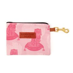 Pet treat pouch printed in a pink dog print with a zip and a leather tag saying Buckingham Palace