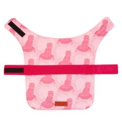 Pet coat made using pink dog print with a pink velcro strap across