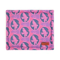 Square pet cushion printed with purple parrot printed material with a leather tag saying Buckingham Palace