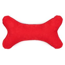 Bone shaped dog toy made with blue rosette printed material and a leather