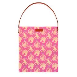 Tote bag with brown leather handle and brown leather tag saying 'Buckingham Palace'. Made using a pink material printed with yellow parrot and cats.