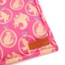 Square shaped pet blanket made using pink material and printed with yellow cats and parrots