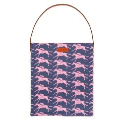 Navy tote bag printed with pink racing horses and with a brown leather strap
