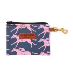 Navy treat pouch printed with pink racing horses, a leather Buckingham Palace tag and a gold clip