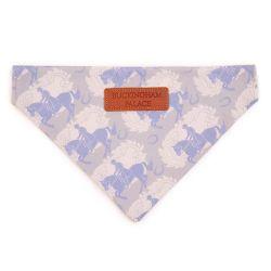 Grey pet bandana printed with grey and light blue horses