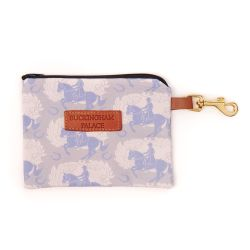 Treat pouch made with grey material printed with grey horses and a leather Buckingham Palace tag and clip