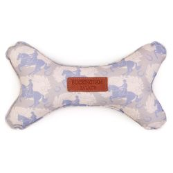 Bone shaped dog toy made using grey material and printed with light blue horses. With a leather Buckingham Palace tag