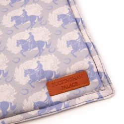 Grey square pet blanket printed with light blue horses