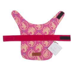 Pink pet coat printed with a yellow parrot and cat pattern