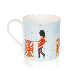 Pale blue mug decorated with guardsmen and flag. On the blue background are gold stars and on the inside of the mug is the gold coronet