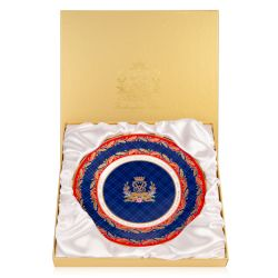 Limited Edition plate to commemorate the life of The Duke of Edinburgh. With a red border and gold leaves, the centre of the plate is a blue design with Prince Philip's cipher at the centre