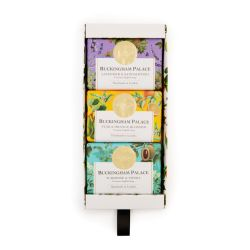 box of three  soap wrapped in floral printed papers and finished with a gold seal
