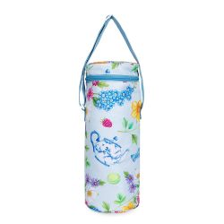 Blue wine cooler printed with florals and other royal summertime symbols including fruit, tennis balls and floral teapots. There is a blue handle and blue zip round the top of the wine cooler.
