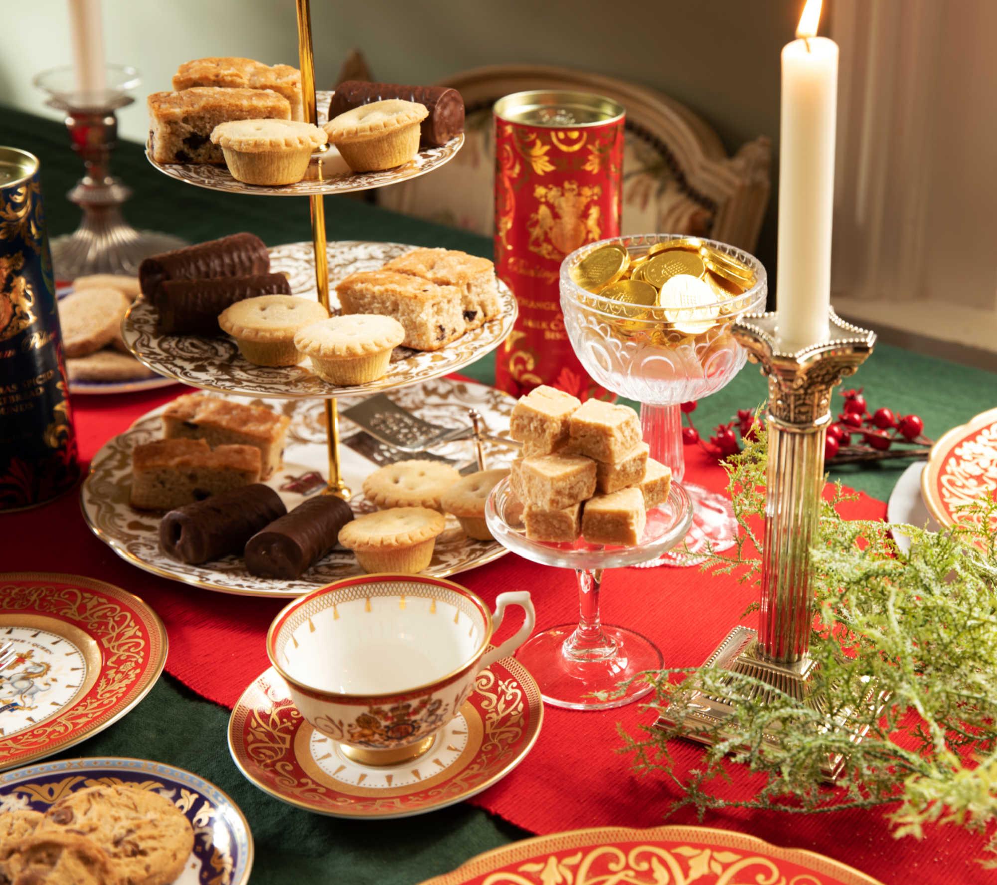 Christmas feast on a festive dining table